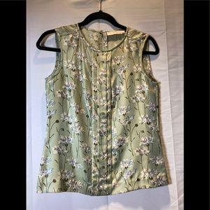 Tory Burch Silk Sleeveless Floral Top - 0